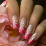 Nail art fleur sur manucure française