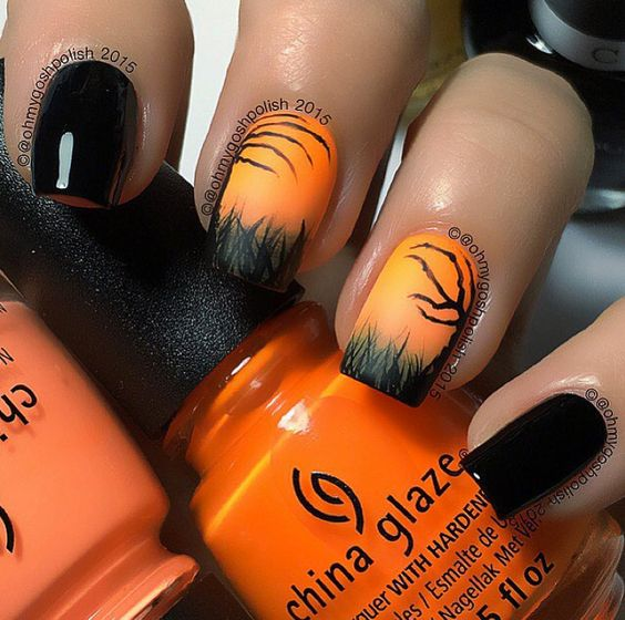 halloween-ongles-orange-peur