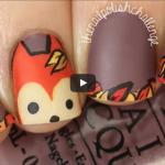 Nail-art renard d'automne