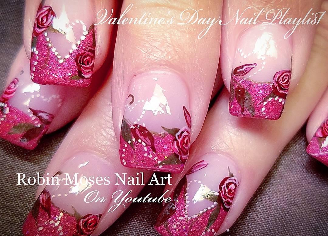 Nail art saint valentin manucure fran aise paillet e avec roses et coeurs - Ongle st valentin ...