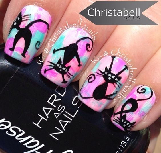 nail art chat drole