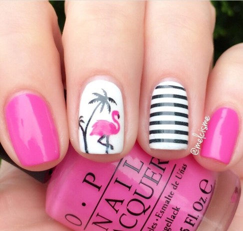nail art flamant rose