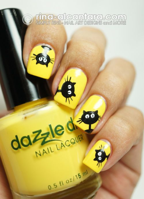 ongles chat jaune