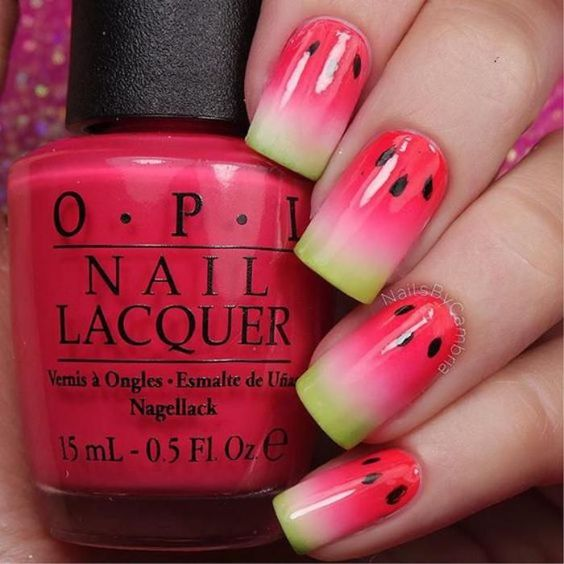 ongles melon d'eau watermelon nails