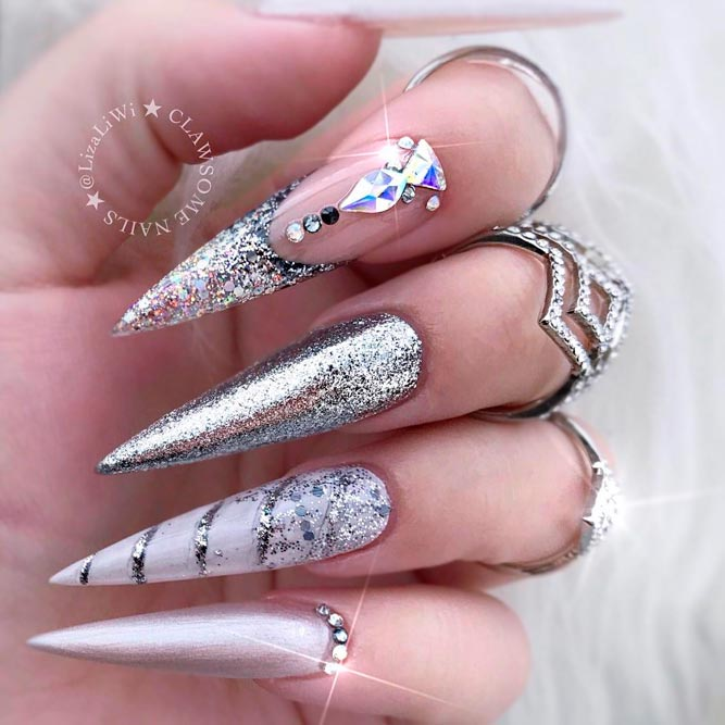 stiletto nails silver glitter tips rhinestonesnes-long-acrylic