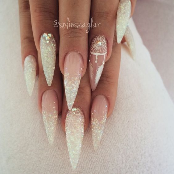 stiletto nails white glitter mandala