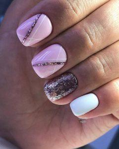glitter nail art rose