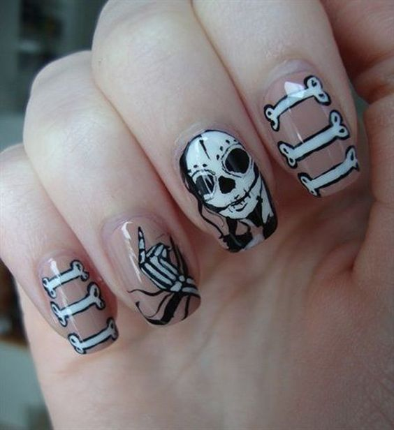 halloween squelette ongles