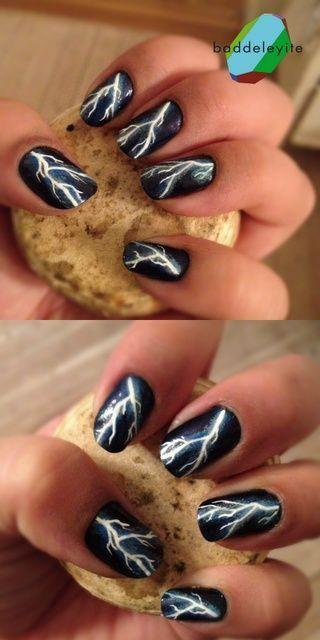 nail-art orage foudre