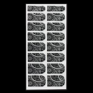 patch ongles metallise integral fleurs noir argent