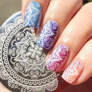 stamping nail-art fleur