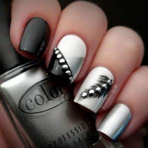 stud nail gray black silver