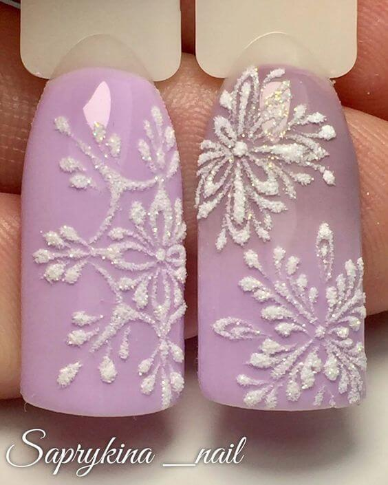 nail art flocon de neige rose