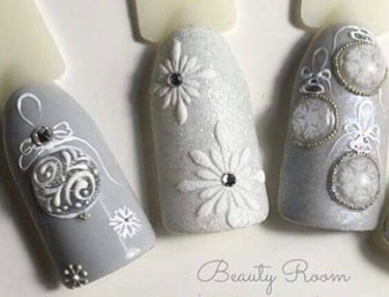 nail art noel neige boule flocon