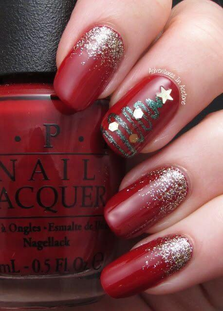 nail art sapin epuré rouge