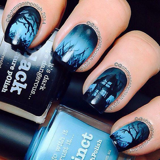 halloween maison hantee nail-art