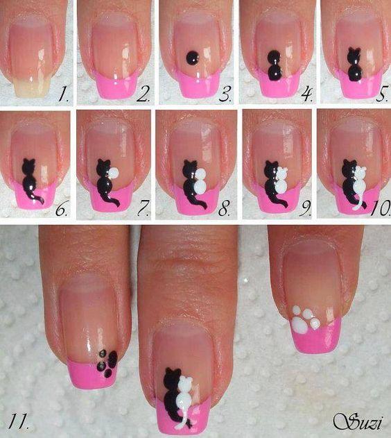 DIY nail-art couple de chats