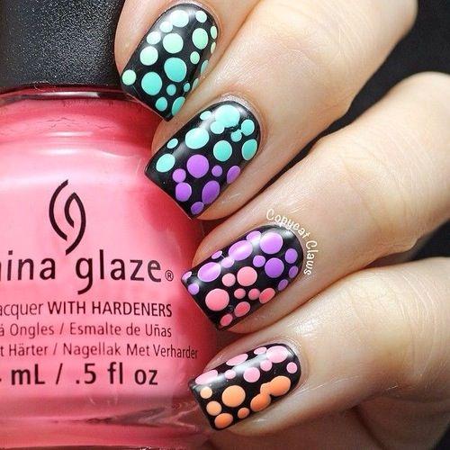 ongles ronds colorés