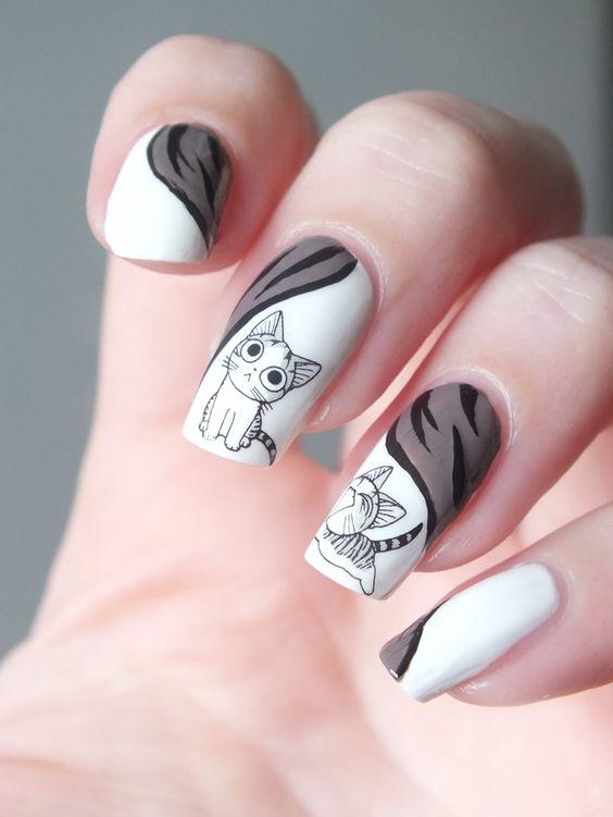nail art chat japonais
