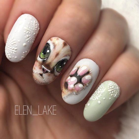 nail-art chat réaliste