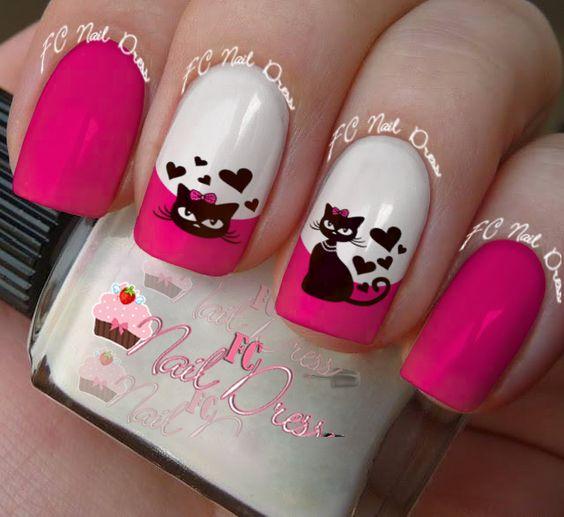 nail-art décalque chat coeur