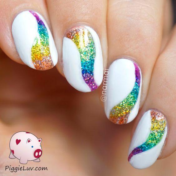 nail art glitters white