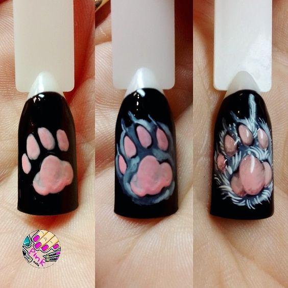 nail art patte de chat réaliste