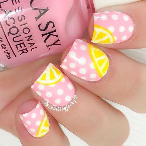 ongles fruits citron et rose