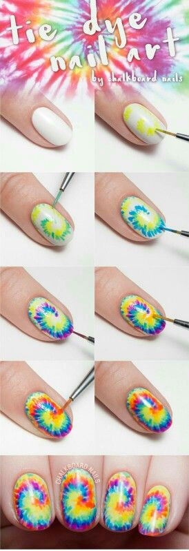 ongles tie die nail art
