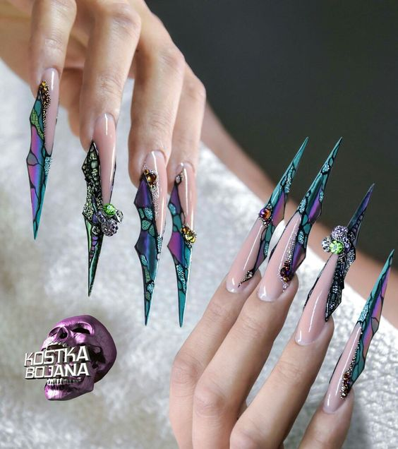 ongles stiletto papillon 3D long