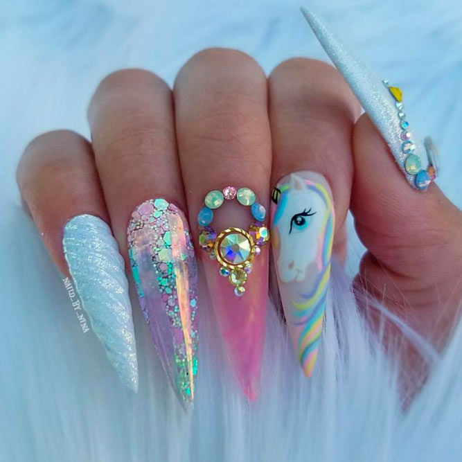 stiletto nails unicorn glitter