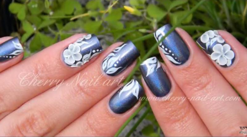 Cherry nail art fleurs 3D