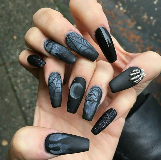 halloween nail art-dark night matte