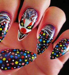 halloween nails IT Pennywise clown