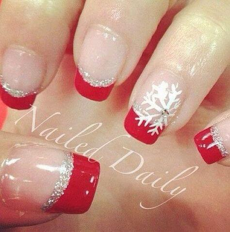 nail art flocon de neige french manucure rouge