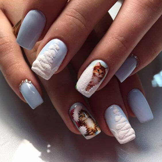 nail art noel neige sapin chat