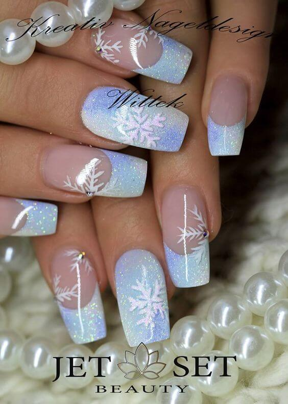 nail art noel neige flocon