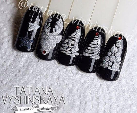 nail art noel neige sapin