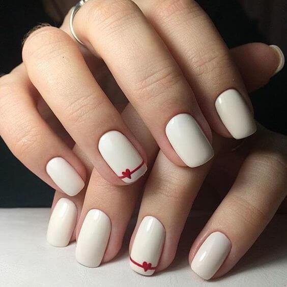 nail art saint valentin coeur blanc