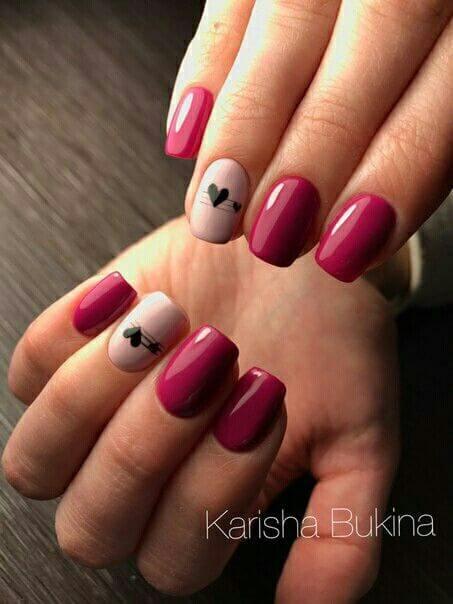 nail art saint valentin coeur facile