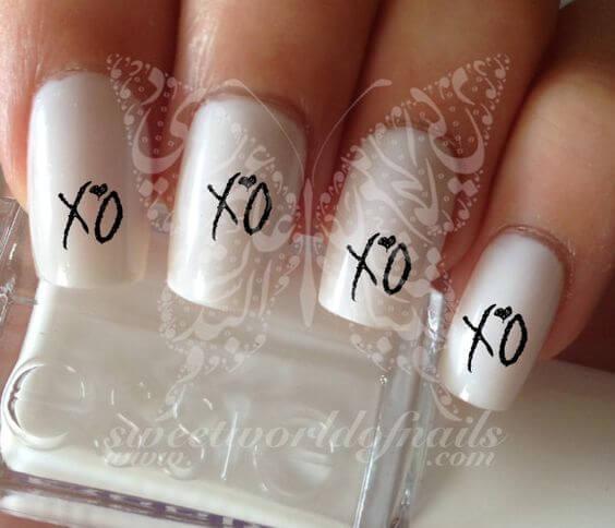 nail art valentin s day xoxo