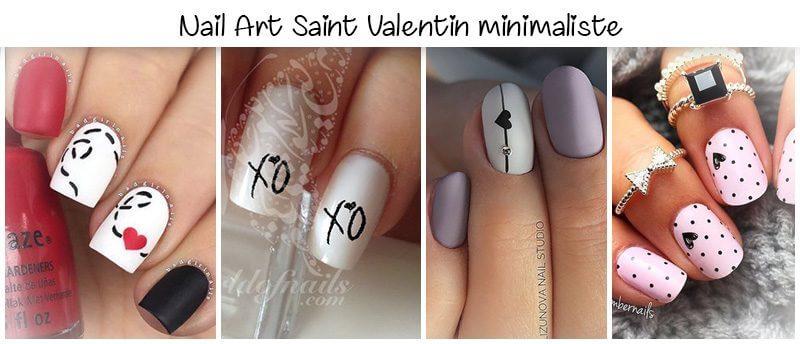 saint valentin nail art minimaliste 2018